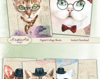 75% OFF SALE Cats - Digital Collage Sheet Digital Cards C223 Watercolor ATC cards