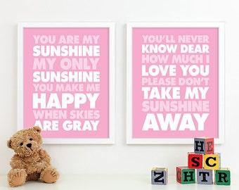 Girl Nursery Art Prints, Nursery Decor, Kids Wall Art, Baby Girl Gifts Room, You Are My Sunshine Nursery Rhyme Lyrics