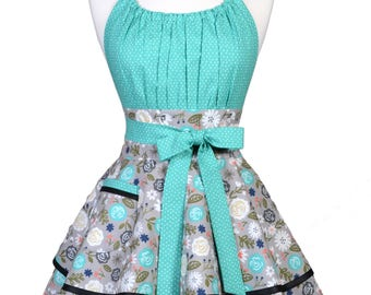 Flirty Chic Pinup Apron - Heart and Soul Gray Teal Floral - Womens Sexy Cute Retro Kitchen Apron with Pocket - Monogram Option