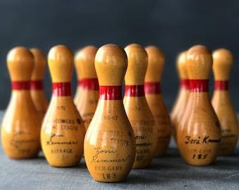 Vintage Wood Bowling League Trophy    Miniature Wood Bowling Pin   Amateur Bowling League Award   1960's to 1980's