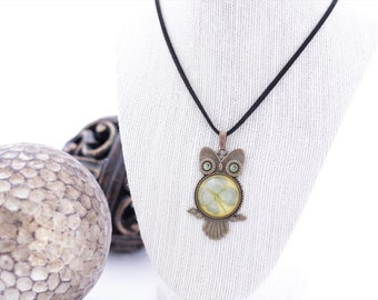 Real Four Leaf Clover Owl Necklace - 4 Leaf Clover Good Luck Lucky Irish Shamrock