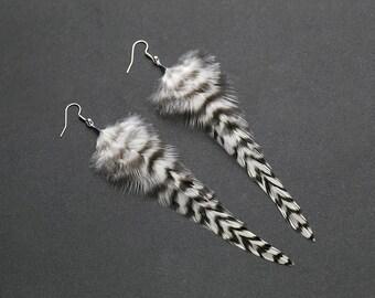 Black and white feather earrings Striped earrings Black white stripes Earrings for girls Dangle earrings Lightweight earrings Spring jewelry