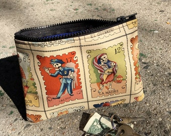 """7"""" Zippered Day of the Dead Cotton Print Pouch, Coin Bag, Skeleton Lotteria Print Cosmetic Case, i phone Case"""