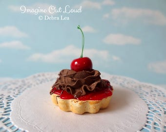 Fake Cake Tart Tartelette Mini Dessert Cherry Chocolate  SINGLE