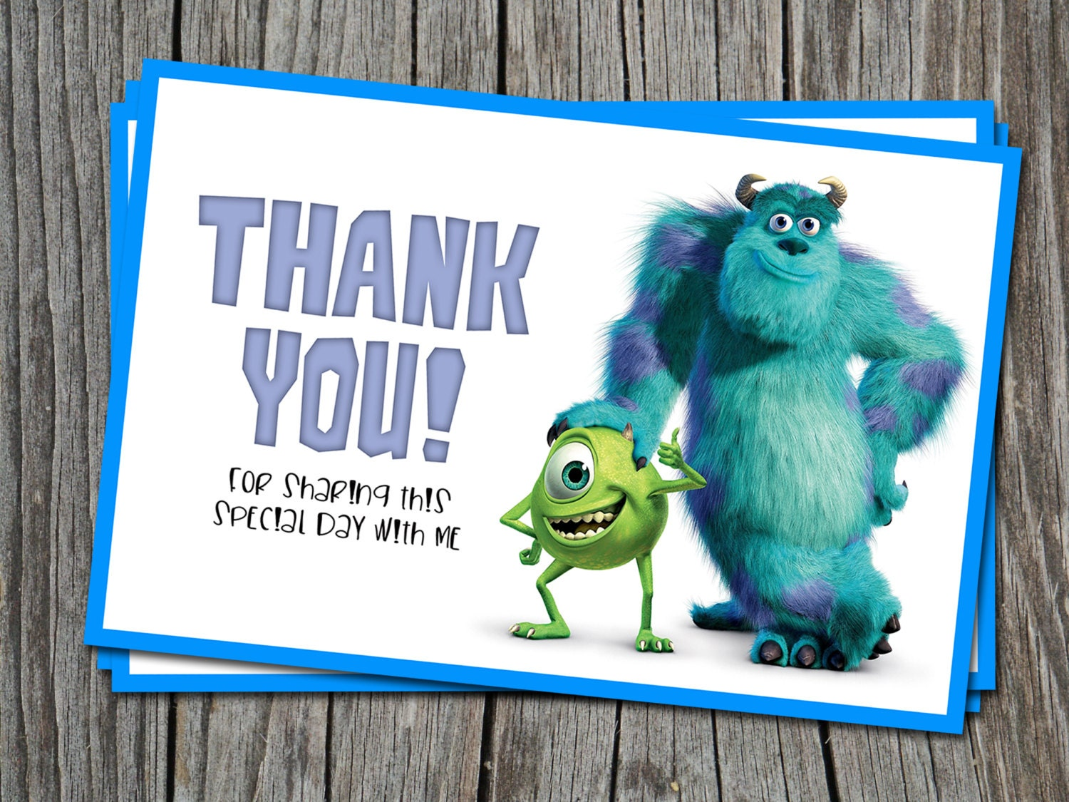 INSTANT DOWNLOAD Thank You card Monsters Inc Modern