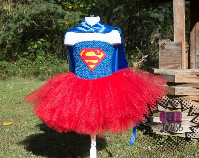 Super Girl Halloween inspired Costume Tutu Girl Skirt Boutique Bows Clothing Baby Toddler red blue cape Outfit