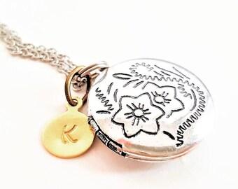 Antique Silver Locket Necklace - Bridesmaid Necklace - Initial Necklace - Personalized- Flowergirl Locket - Vintage Locket Rose Gold Wedding