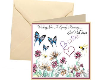 Get well card, floral get well soon card, get well soon card, sickness card, illness card