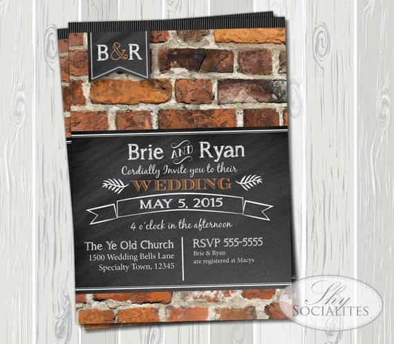 Brick  Chalkboard Invitation Typography Blackboard