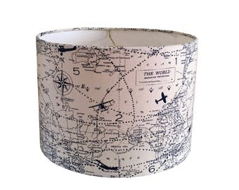 Drum Airplane Lamp Shade  -Vintage World Map Navy Blue Natural Cream -Baby Boy Room Office Nursery-Premier Prints-Table Lamp-Map Lampshade