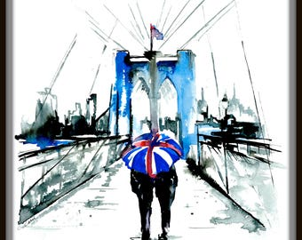 Romantic Travel, Romantic Vacation Mementos, Watercolor London, Travel Print, Travel London Poster, Rain Umbrella Painting by Lana Moes