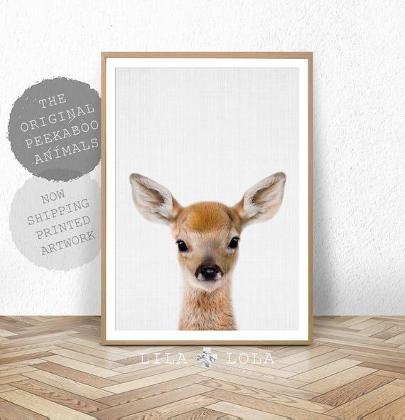 Deer Print, Woodland Animals, Nursery Wall Art Decor, Baby Shower Gift, Girl, Boy, Large Wall Art, Baby Deer, Fawn Head, Printed Poster