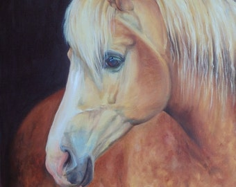 Palomino HORSE portrait Original OIL PAINTING on canvas, Horse head, Framed Hand painted Ready to hang Equestrian Animal Fine Art