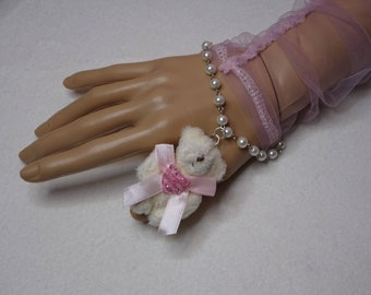 Sweet Lolita Kawaii Gingham Heart Vanilla Bear Bracelet