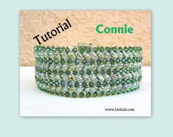 Connie Superduo and Swarovski Beadwork Bracelet PDF Tutorial