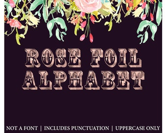 Rose gold Alphabet Clipart. rose gold foil letters, fun style gold foil clip art in uppercase only includes punctuation.