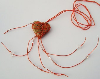 My Heart's On Fire,  Heart Shaped Faux Stone Necklace Pottery and Fiber, Orange ht1