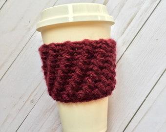 Burgundy Coffee Cozy, crochet coffee cozy, crochet cup cozy, crochet mug cozy, coffee cozy, cup cozy, mug cozy