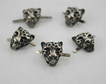 10 pcs Zinc Silver Tone Tiger Head Leopard Studs Leather Craft  Decoration Findings. DHS1316