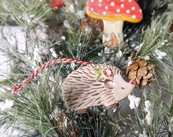 Ceramic Hedgehog Christmas Ornament, Porcelain Clay, Brown with Red and Green Flower