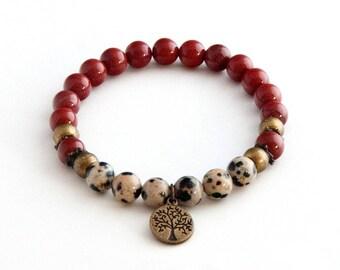 red Jasper, bracelet, jasper jewelry, stretch bracelet, beaded bracelet, red bracelet, healing bracelet, yoga bracelet, boho bracelet