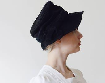 1960s Black Velvet Wide Brim Bucket Hat