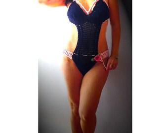 Strappy crochet monokini  Navy pink sexy swimsuit- crochet onepiece -Retro lingerie bodysuit- Fashion cage monokini-Bathing suit -women gift