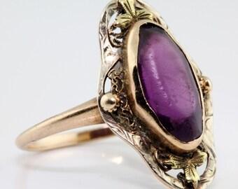 Antique 1880's Victorian 10k Rose Gold Filigree 1.93 Ct Purple Amethyst Ring