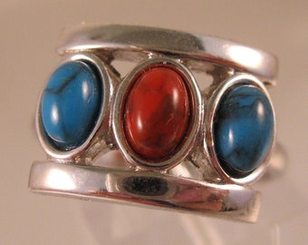 Vintage SARAH COVENTRY Faux Turquoise & Coral Ring Silver Tone Adjustable Vintage Jewelry Gift for Mom Gift for Her