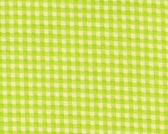 Stitched Garden Green Gingham Fabric