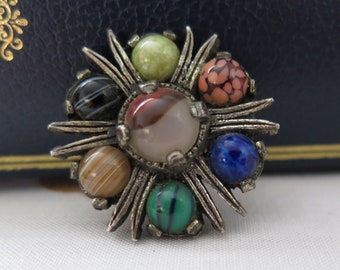 Vintage Celtic Scottish Brooch /Pin Kilt Pin By Miracle With Glass Agates