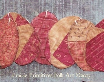 6 Rustic Egg Ornaments, Antique Quilt Tattered Egg Ornaments, Primitive Eggs, Farmhouse Easter Decor, Claret & Pink - READY TO SHIP