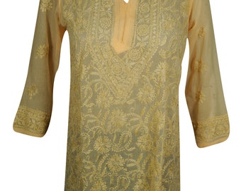 Women's Casual Embroidered Long Sleeves Tunic Blouse Top S/M