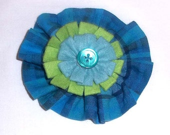 Fabric Floral Brooch in Cool Turquoise and Green Colors