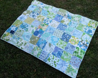 Blue and Green Vintage Sheet Quilt - Picnic Blanket - Cot Quilt - Crib Quilt - Lap Quilt - Handmade with Vintage Sheets
