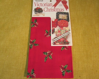 "Victorian Christmas 14 1/2"" x 36"" fabric, red with holly leaves and berries, for crafts, bows , boxes , etc. ,by Home Craft"