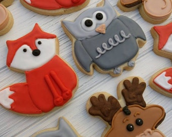 Woodland Themed Baby Shower Cookies_Onesies, Foxes, Owls and Moose