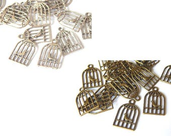 10 charms 19x12mm, bird cage, bronze or silver color charm bird cage