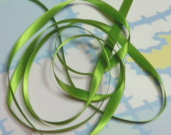 KIWI DouBLe FaCeD SaTiN RiBBoN, Polyester 1/4 inch wide, 5 Yards