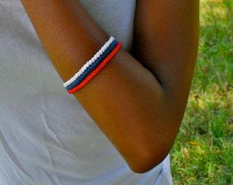 Red, White and Blue Friendship Bracelet Set - 3 Friendship Bracelets