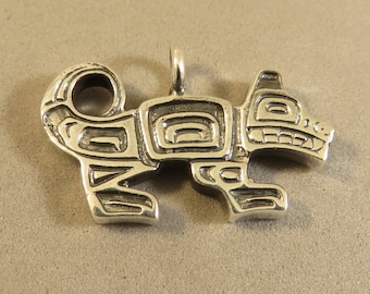 Sterling Silver Detailed Native American Totem Pole Style NORTHWEST WOLF PENDANT .925 Sterling Silver New pm16