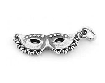 Sterling Silver New Orleans Masquerade Mardi Gras Charm (3d Charm)