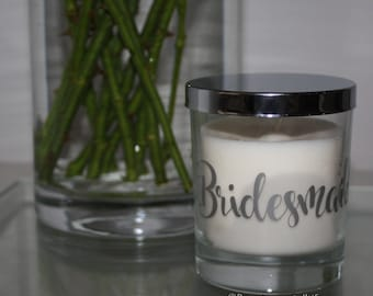 Bridesmaid Gift Luxury Soy Candle 30cl - Silver / Gold / Copper - Various Scents available