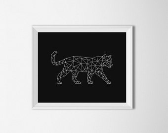 Geometric Tiger Art, Origami tiger print, Digital, Minimalist decor, Black and white, Geometric wall art, Printable Art, tiger wall art