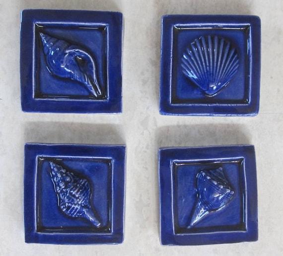 Royal Blue SeaShell Accent tiles 2x2 accent tile sea shells Set