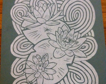 Lotus Flowers Lino Block Print 8x10