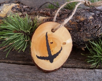 Wooden Christmas Ornament with Pheasant Tracks. Pheasant Christmas Ornament. Bird Track Tree Ornament. Rustic Tree Ornament.