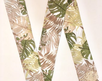 Tropical Print Skinny Scarf, Hair Accessories, Hair Scarf, Man's Scarf, Woman's Scarf, Palm Print, Spring Scarf, Palm Tree, Summer Scarf