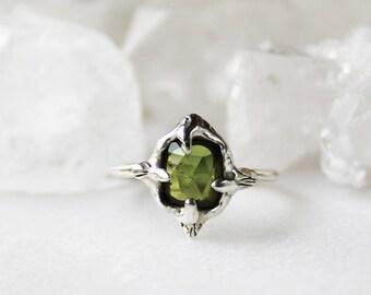 tourmaline ring, green tourmaline, sterling silver, hand sculpted ring, rose cut, rose cut tourmaline, rose cut ring
