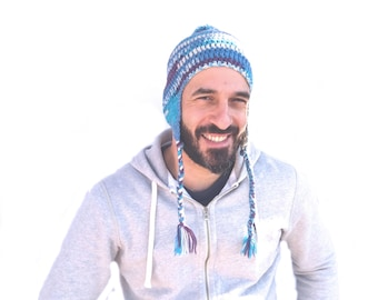 Pom Pom Beanie with Ear Flaps and Braids/ 100% Wool Multi Colored Peruvian Trapper/ Purple Blue White Hat/ Gift for Man Woman/ One of a Kind